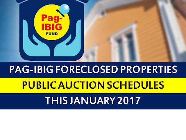 Pag IBIG fund acquired assets for sale in Cavite, Batangas, Laguna, Bulacan, Metro Manila and Rizal shall be for sale through public auction, starting January 11, 2017.  So if you are looking for prime properties, condominium units, lots, house and lots, townhouse and other properties, do not miss this opportunity.
