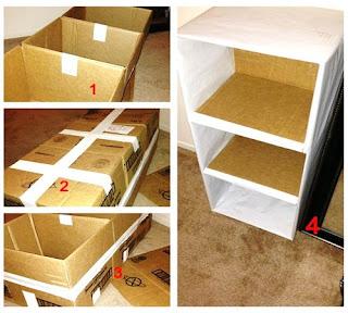 Untuk membuat lemari praktis dari kardus bekas butuh bahan dan alat sebagai berikut: