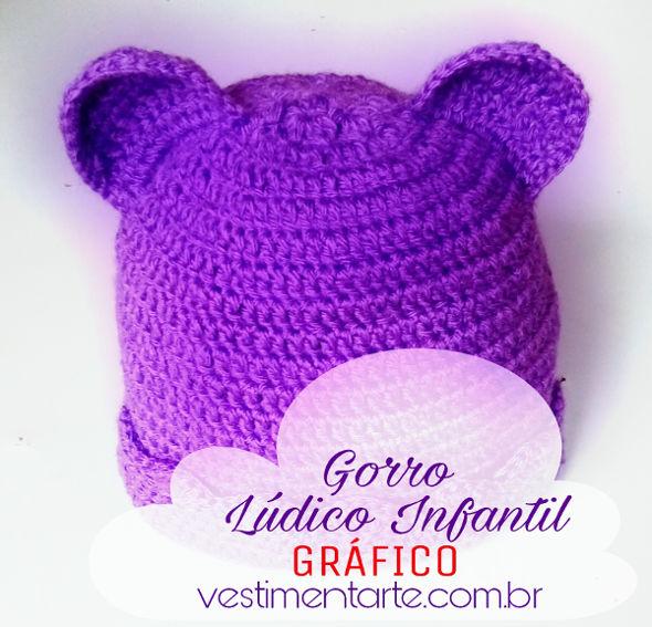 5d07615d9fdec Gorro de Crochê Infantil Ursinho com Orelhinhas - Vestimentarte