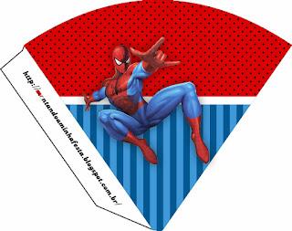 Conos= Cucurucho para Imprimir Gratis de Spiderman.