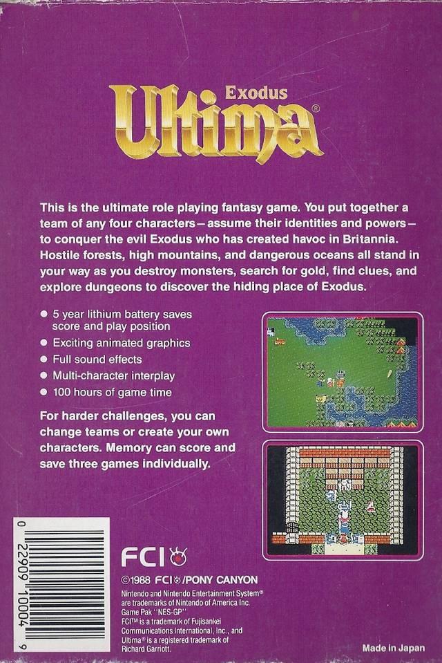 8-Bit City: Ultima: Exodus NES Box Scans
