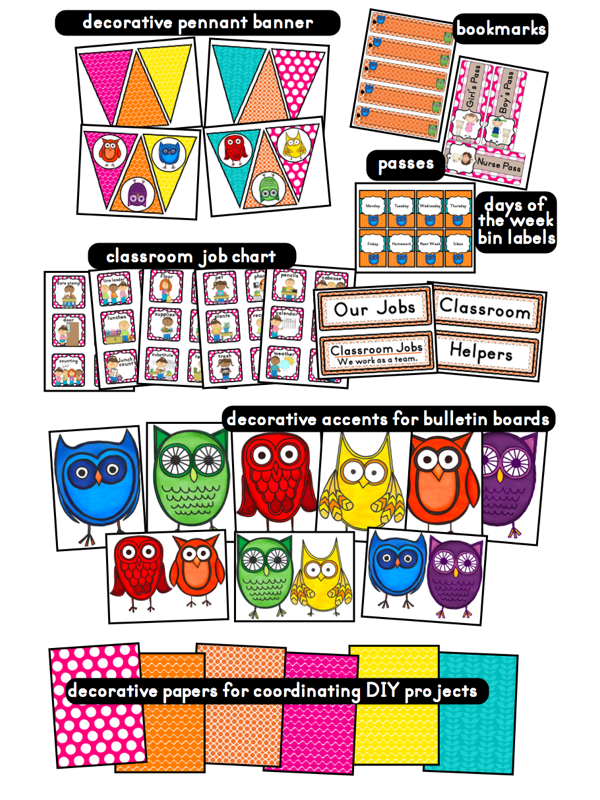 Classroom Decoration For Grade 5 ~ Owls themed classroom ideas printable