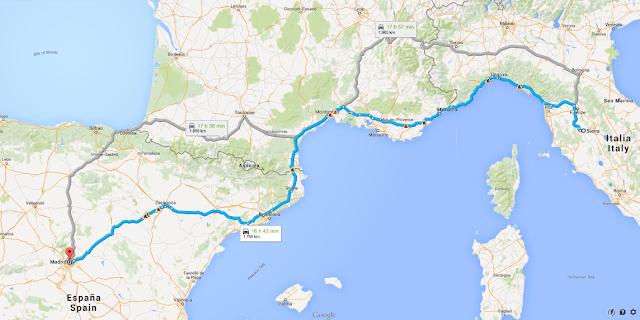 ruta en coche desde Madrid a la Toscana
