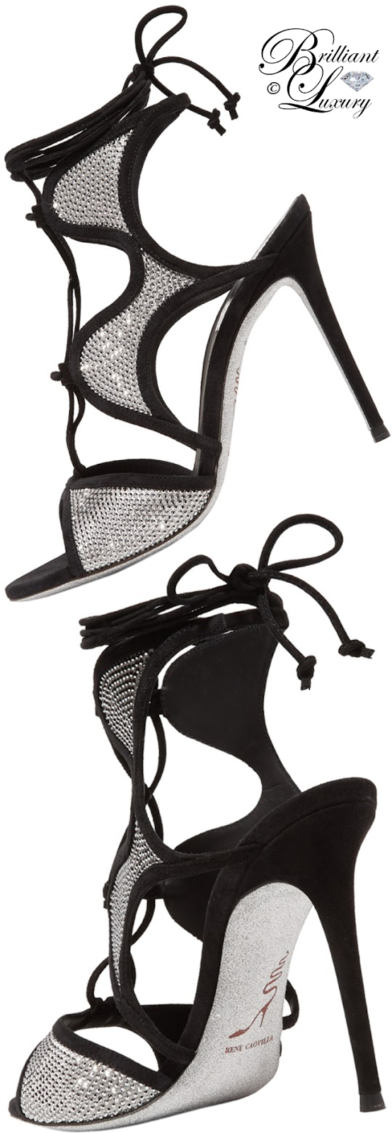 Brilliant Luxury ♦ René Caovilla Crystal-Embellished Suede Ankle-Wrap Sandal
