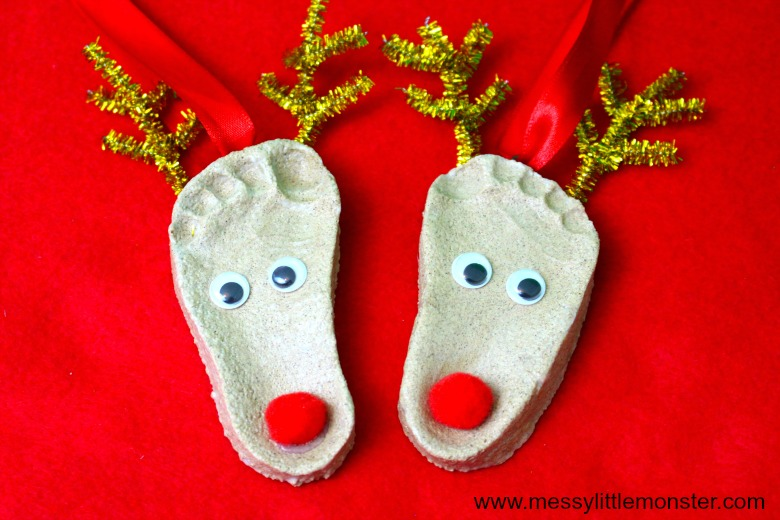 Reindeer Craft - Footprint Salt Dough Ornaments