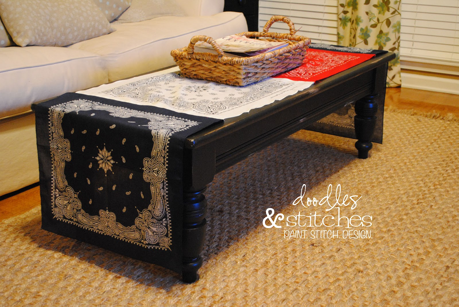 Coffee Table Runner.Doodles Stitches Bandana Table Runner