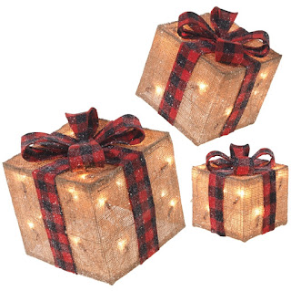 Burlap Lighted Christmas Present decorations