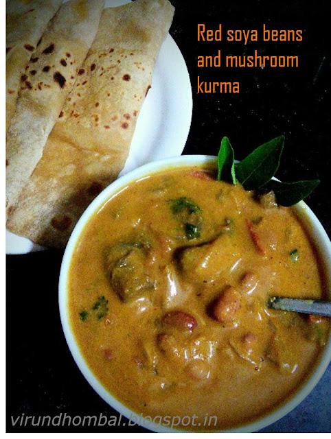 Red Soya beans and Mushroom Kurma