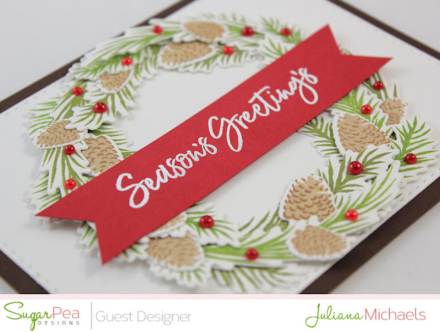 Angled detail image - Season's Greeting's Christmas Card by Juliana Michaels featuring Pine Cone Greetings by Sugar Pea Designs