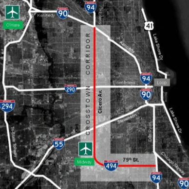 Cross town expressway, years later (Chicago, Cicero: 2015 ... on map of hwy 301, map of dulles greenway, map of indiana toll road, map of dulles toll road, map of suncoast parkway,