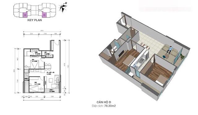 Thiết kế căn hộ Eco Dream loại D - 2 phòng ngủ
