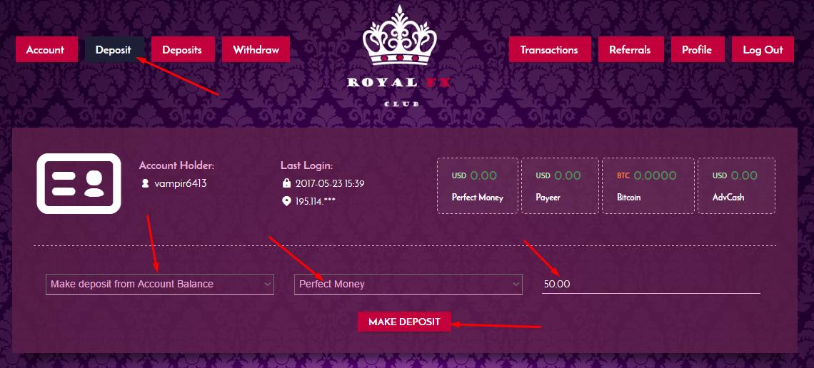 Регистрация в Royal FX 4
