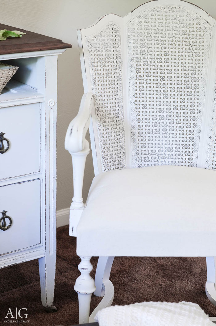 vintage cane back chair gets a farmhouse style makeover anderson