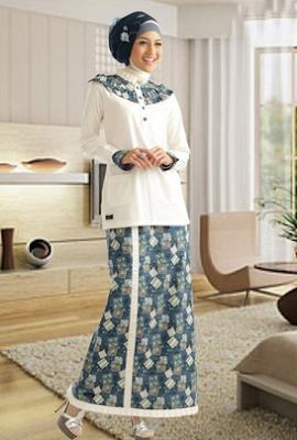 Baju pesta model kurung motif batik modern