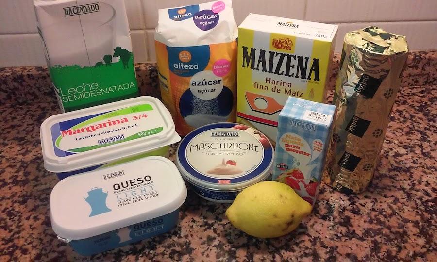 Ingredientes tarta de queso mascarpone