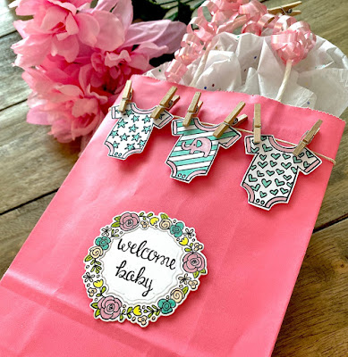 Coordinating Baby Gift Projects by August Guest Designer Angie Cimbalo   Loveable Laundry Stamp Set, Happy Little Thoughts Stamp Set, and Gingham Stencil by Newton's Nook Designs #newtonsnook #handmade