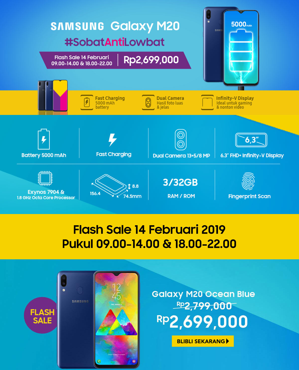 #BliBli - #Promo Flash Sale New Samsung Galaxy M20 (HANYA HARI INI)