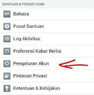 Pengaturan akun facebook