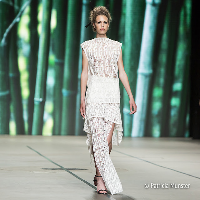 White lace dress by Tony Cohen - MBFWA