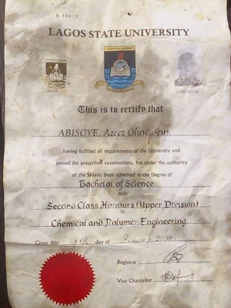 Original Certificate Of LASU's Graduate Found At Suya Spot