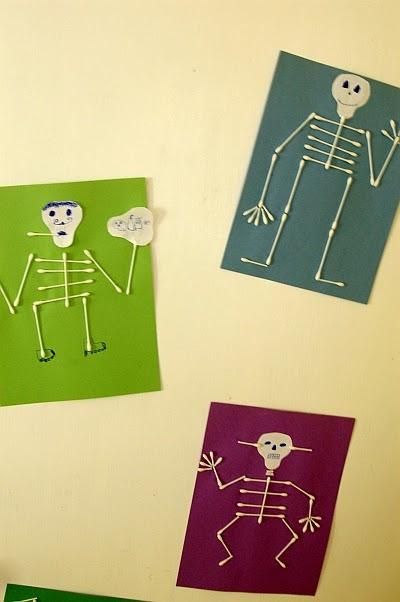 Little inspirations q tip skeleton for Q tip skeleton craft template