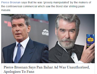 PierceBrosnon,Indianculture,Tradition,Cheating,Timesofindia,Panmasala
