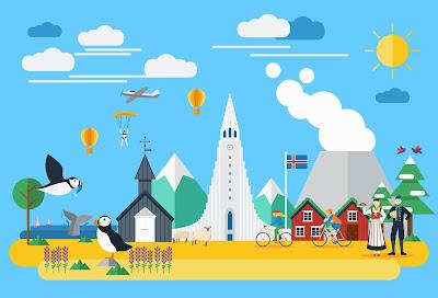 Dibujos de los sitios y cosas más representativa de Islandia