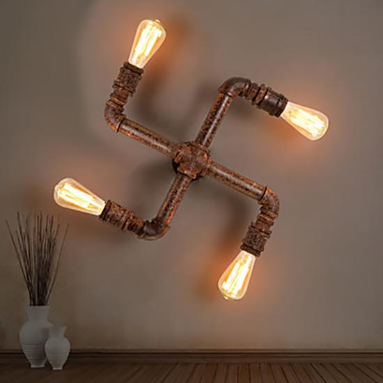 contoh lampu dinding menggunakan pipa besi bekas