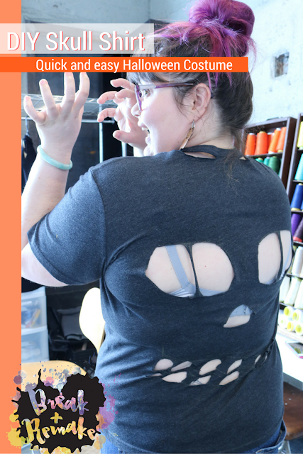 Quick Halloween costume, no sew DIY Skull shirt. Easy! Grab an old shirt you haven't been using, or thrift one and start cutting.