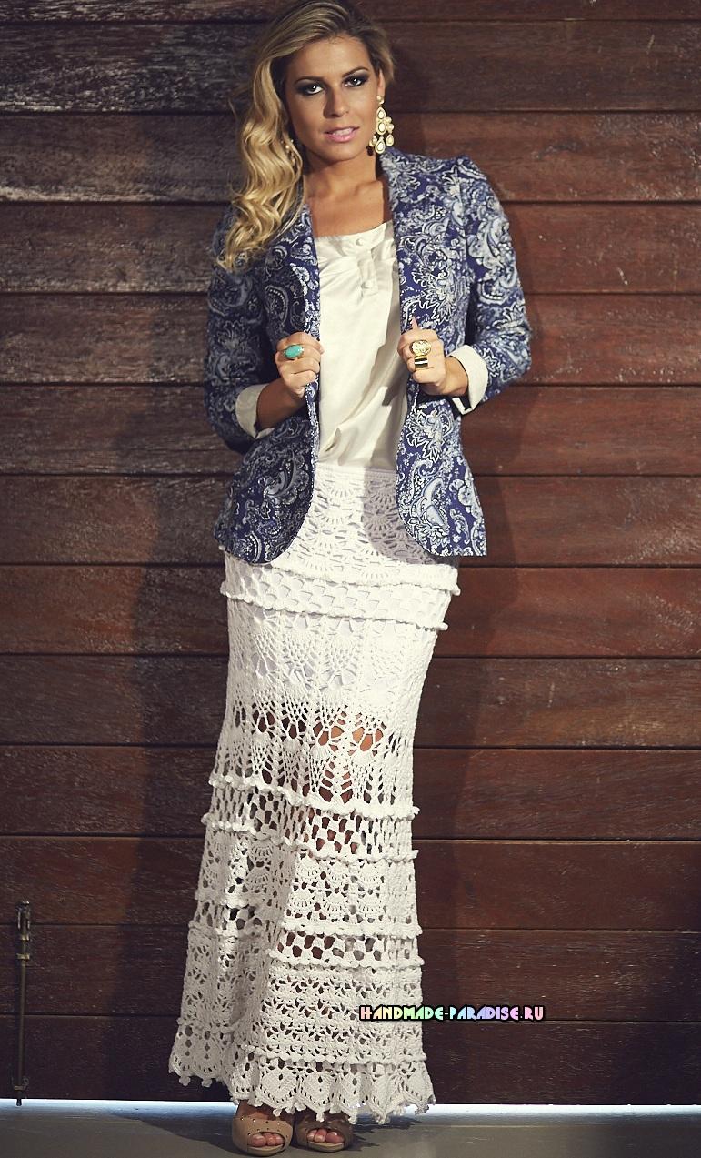 Роскошная длинная юбка крючком (2)