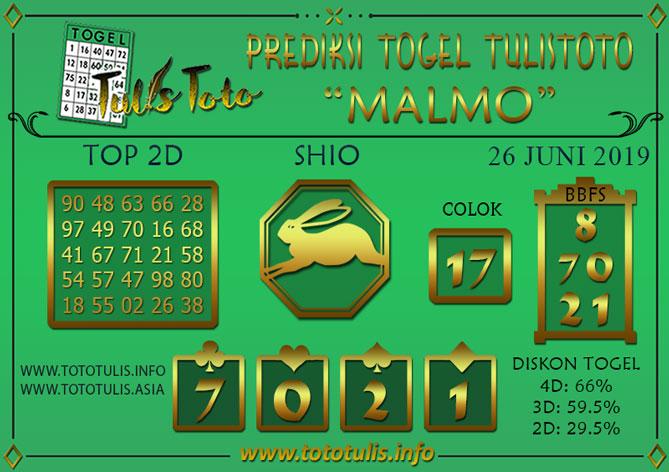 Prediksi Togel MALMO TULISTOTO 26 JUNI 2019