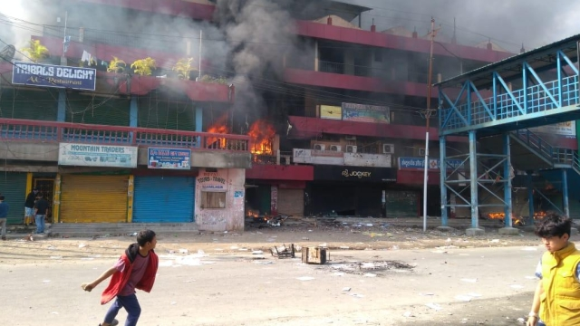 People of Arunachal pradesh protest against PRC protesters set fire at deputy CM house