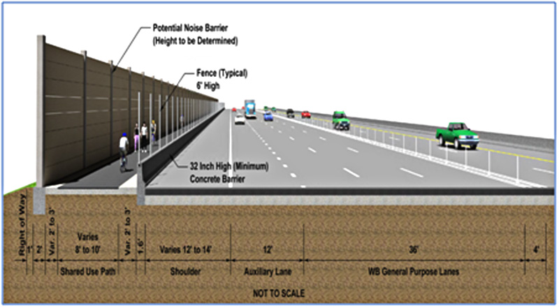 Graphic drawing of traffic and bicycle lanes