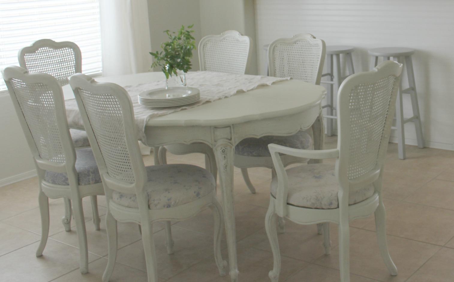 My vintage white shabby chic dining room set I transformed - Hello Lovely Studio