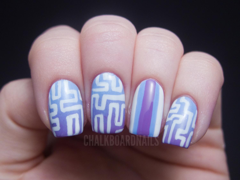 Maze Patterned Gradient Nails Chalkboard Nails Nail Art Blog