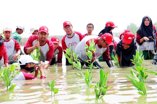 AHM Ajak Sahabat Satu Hati Tanam Mangrove di Muara Gembong