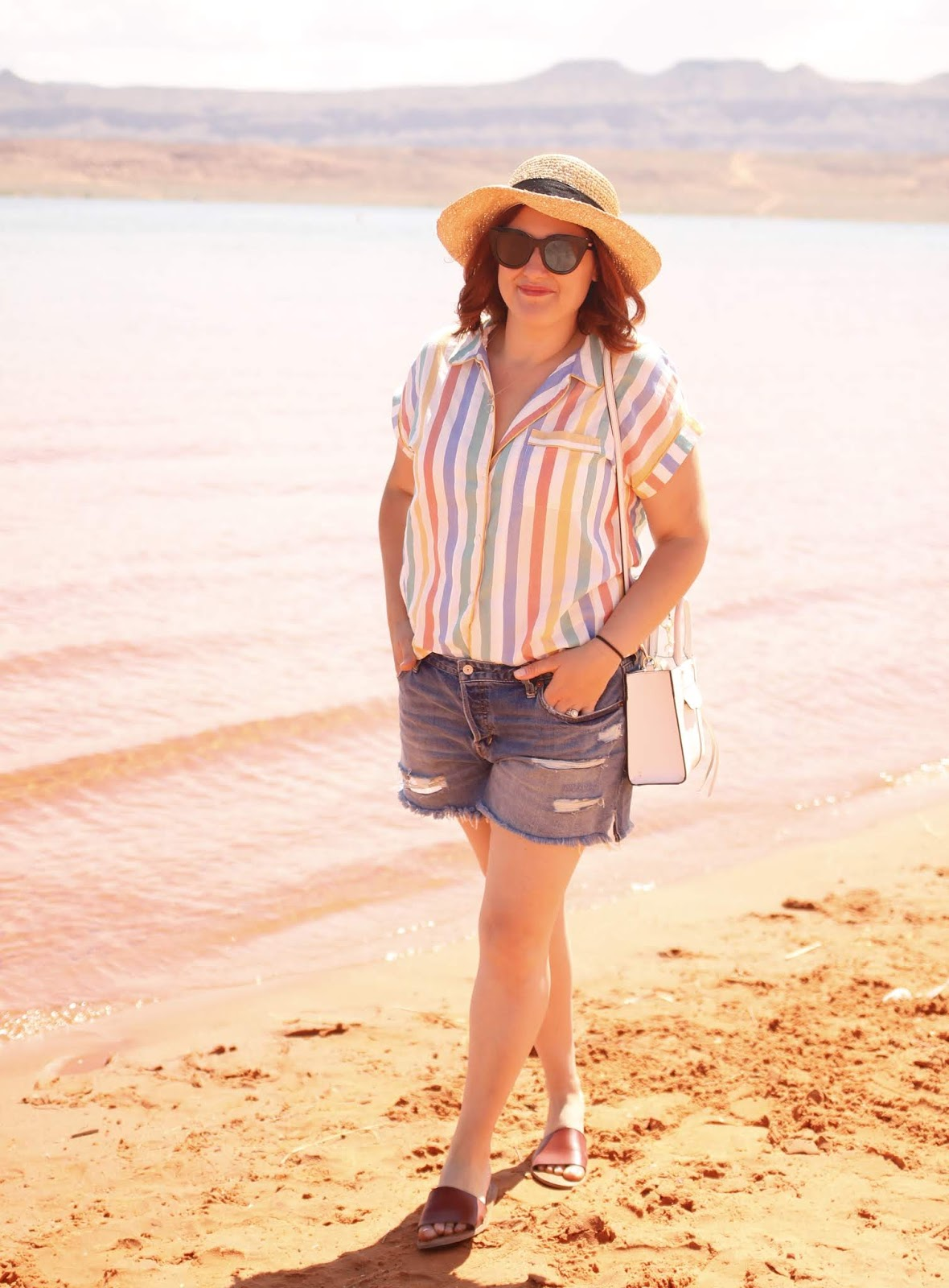 Madewell bedtime pajama in stripe, Abercrombie denim shorts, Sand Hollow state park, rebecca minkoff mini mab