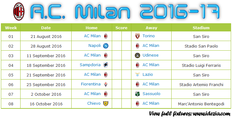 Download Jadwal A.C. Milan 2016-2017 File JPG - Download Kalender Lengkap Pertandingan A.C. Milan 2016-2017 File JPG - Download A.C. Milan Schedule Full Fixture File JPG - Schedule with Score Coloumn