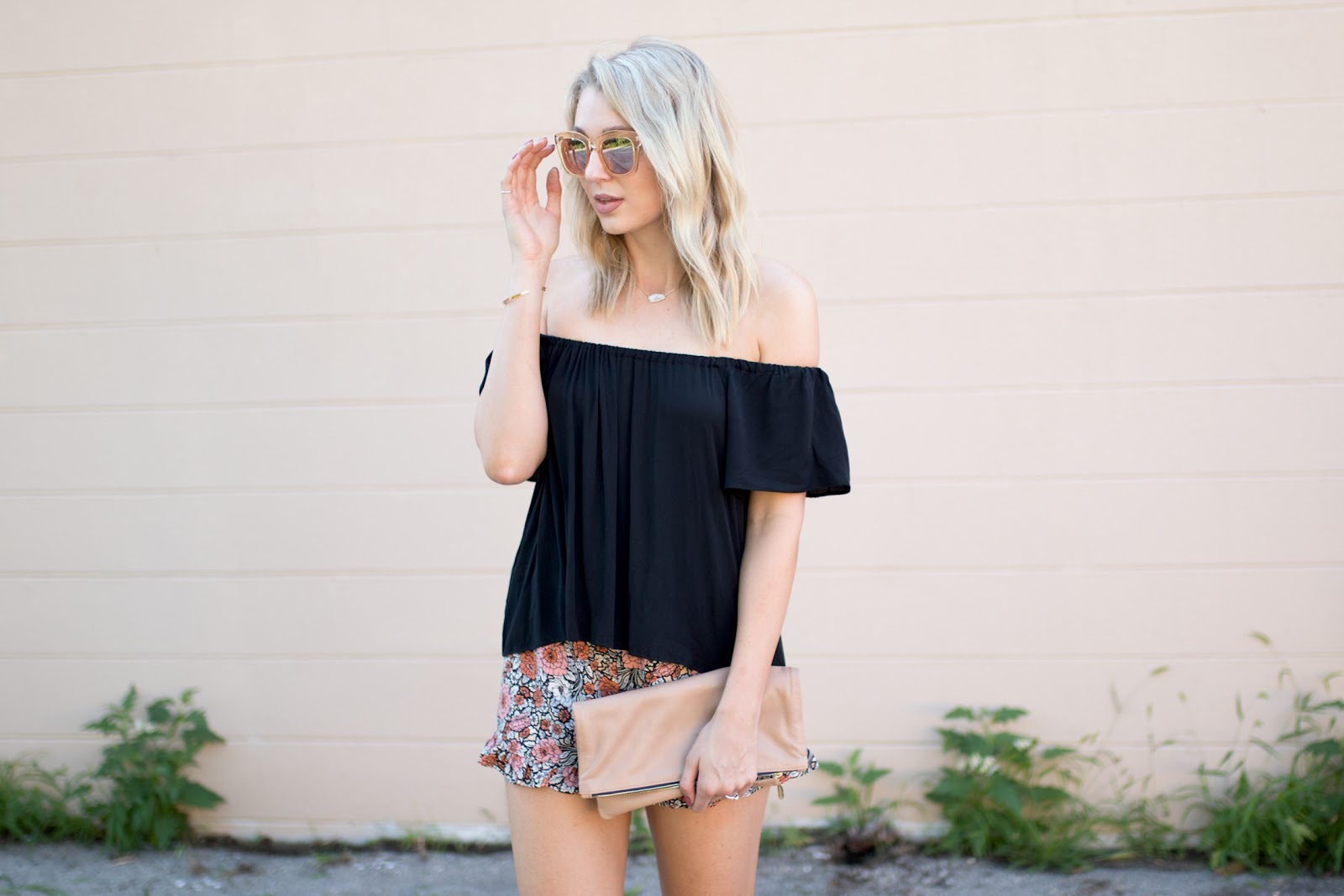 Black off-shoulder top