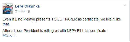 Buhari rules with Nepa bill, Dino Melaye can be elected with toilet paper - Fayose's aide