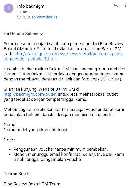 Voucher Dari Lomba Blog Bakmi GM - Blog Mas Hendra