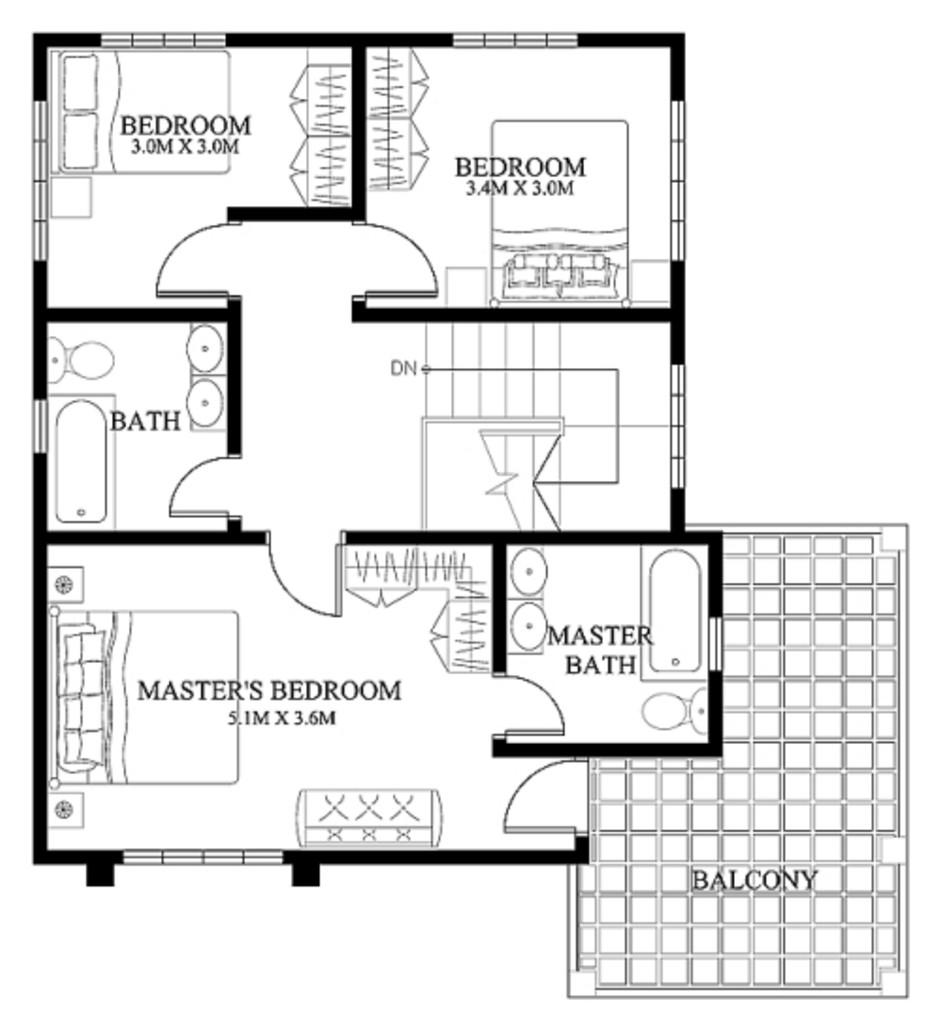 Gambar Rancangan Denah Rumah Bertingkat Lt 2 Idaman Gambar