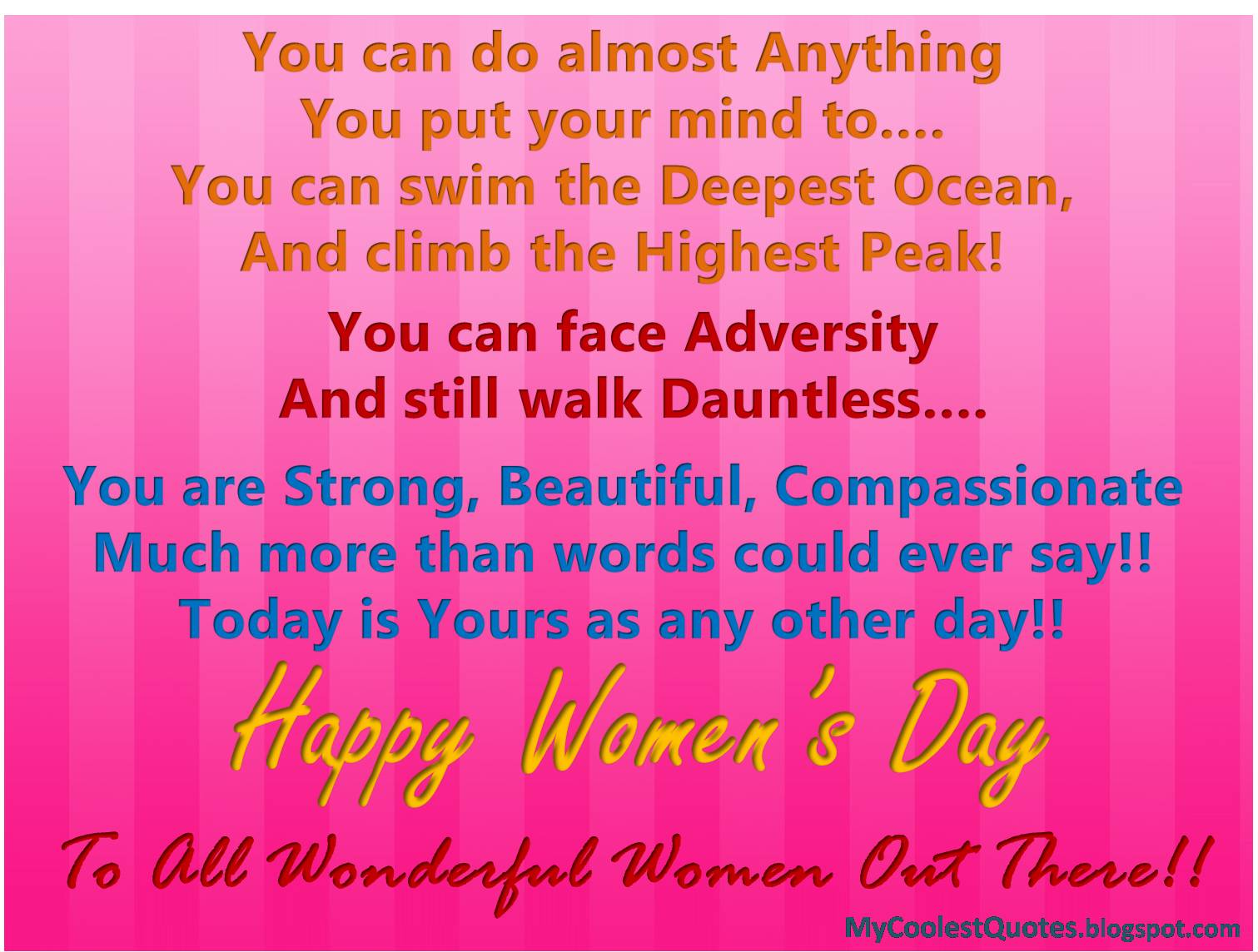 My Coolest Quotes Happy Womens Day Women Can Do Anything