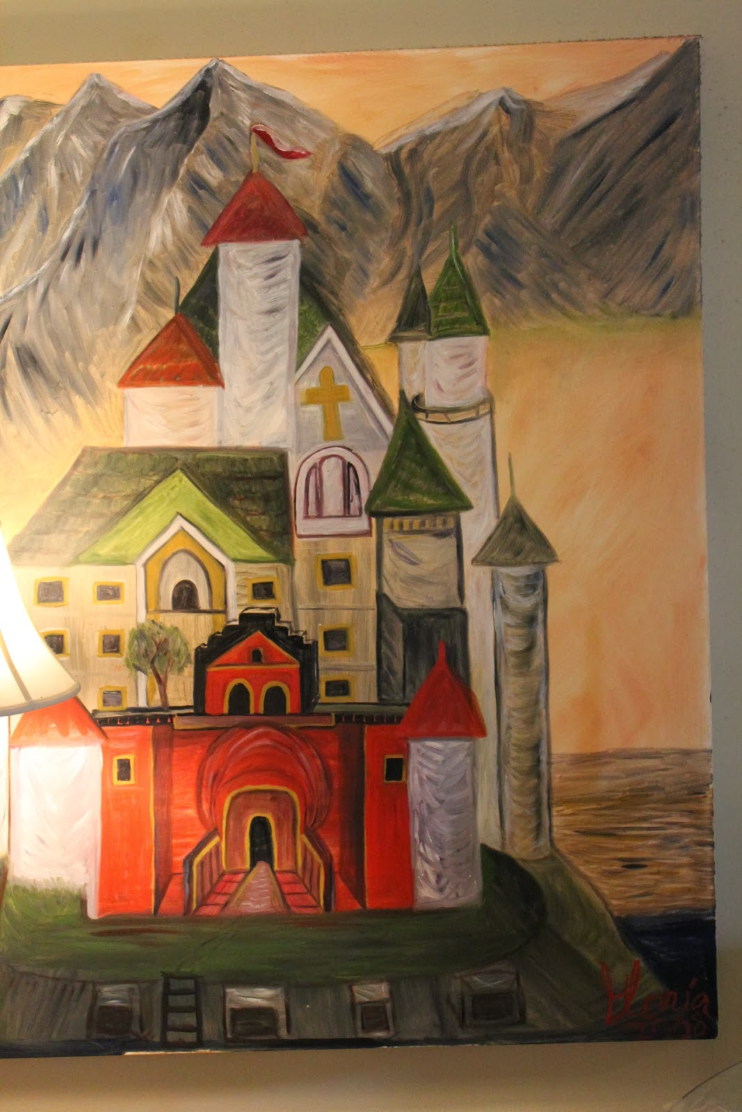 """The Schloss"" oil painting by Gloria Poole; yr 2008 on canvas; full view with lamp in corner"