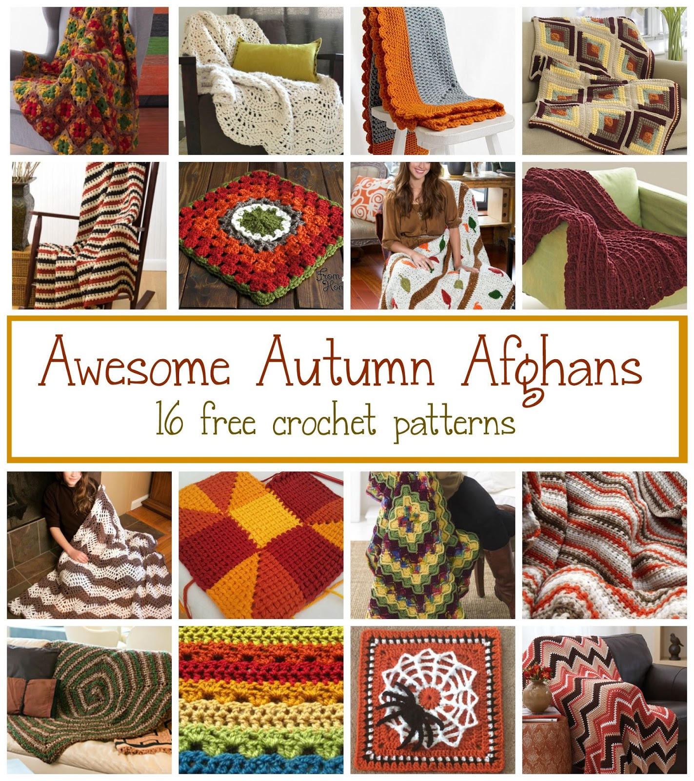 Fiber Flux: Awesome Autumn Afghans! 16 Free Crochet Patterns...