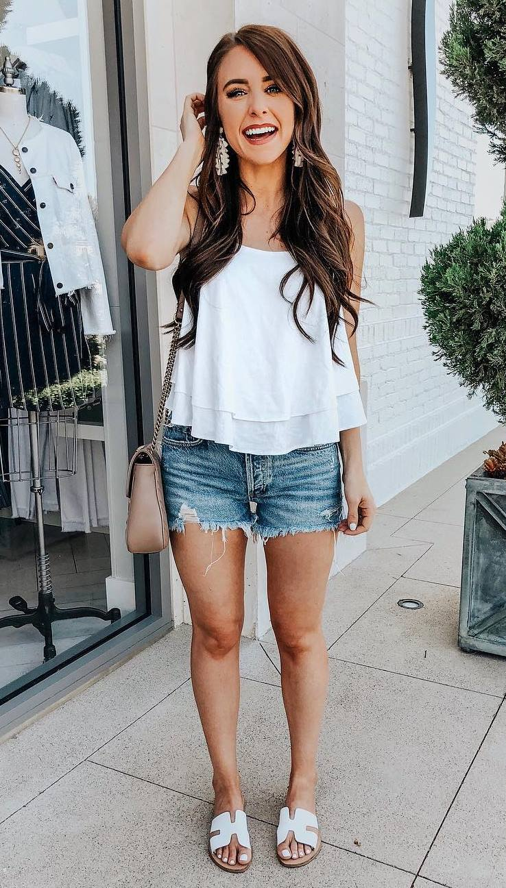 simple summer outfit / white chiffon top + bag + shorts + slides