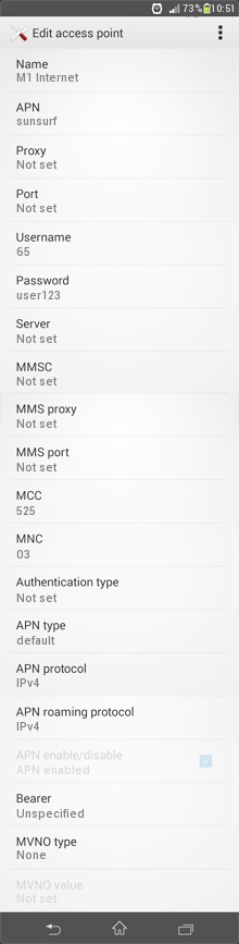 M1 3G APN Settings for Android / Huawei / Samsung Galaxy S3