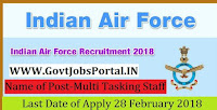 Indian Air Force Recruitment 2018 – 22 Multi Tasking Staff, House Keeping Staf