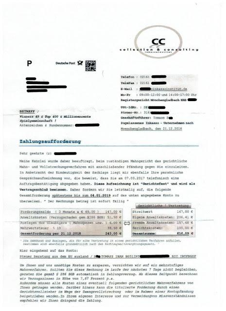 Scan: Zahlungsauforderung CC Inkassoinstitut / DEZ 2018