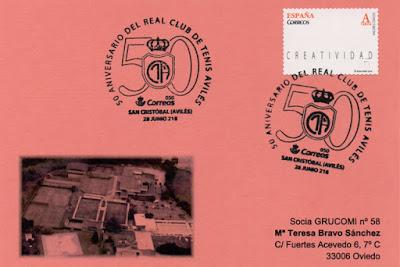 Tarjeta del matasellos 50 aniversario del Real Club de Tenis de Avilés